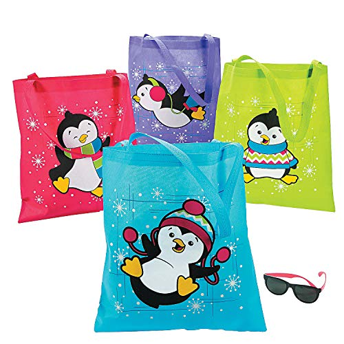 Fun Express - Penguins Totes for Christmas - Apparel Accessories - Totes - Novelty Totes - Christmas - 12 Pieces