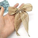 Cinta del cordón de la artesanía Arcos del Bowknot for el partido de matrimonio boda del arco-nudo for Hristmas for arbol de navidad naturales arpillera pajaritas Decoraciones de navidad (Color : 1)