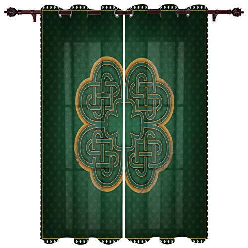 Edwiinsa St. Patrick's Day Celtic Knots, Kitchen Curtains Window Drapes Treatment, 2 Panels Sheer Curtains Set for Kitchen Cafe Office, Saint Lucky Clover Irish Texture 104W x 96L inch