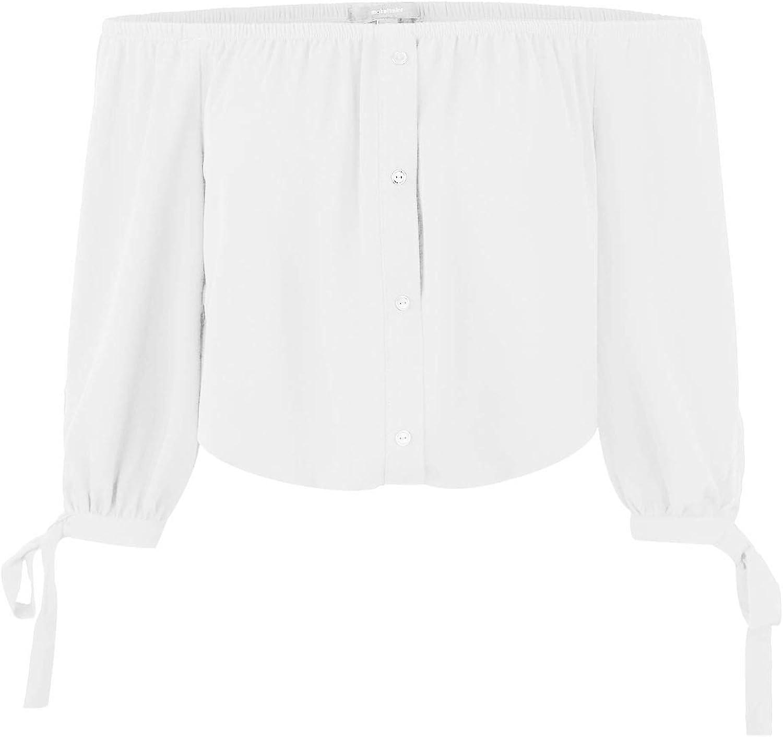 Makeitmint Women's Off Shoulder 3 4 Sleeve Button Down Blouse Crop Top