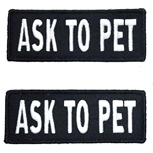 Leash Boss Ask to Pet Patches for Vest - Embroidered 2 Pack - Hook and Loop Both Sides - 3 Sizes (Ask to Pet, Medium - 1.5 x 4 Inch)