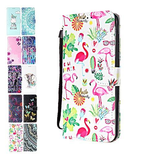 Ancase Lederhülle kompatibel für Samsung Galaxy A10 / M10 Hülle Flamingo-Sommer Muster Handyhülle Flip Hülle Cover Schutzhülle mit Kartenfach Ledertasche für Mädchen Damen