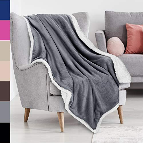 Sherpa Blanket Plush Throw Blanket Size 50' x 60' Bedding Fleece Reversible Blanket for Bed and Couch, Super Soft Comfy Warm Fuzzy TV Blanket