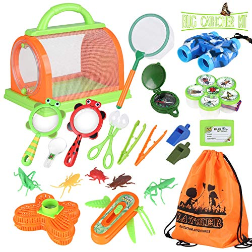 Outdoor Explorer Set, Bug Catcher Kit for Kids Nature Exploration Kit with Binoculars, Magnifying Glass, Compass & Butterfly Net Outdoor Adventure Kit Gift for Boys & Girls (22 Pcs) 002