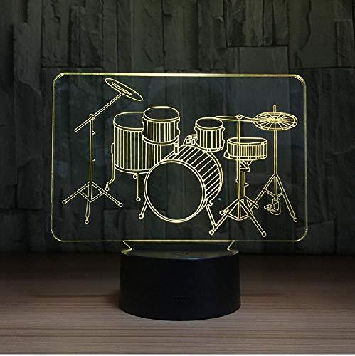PBNUMBERS Drum Set Led 3D Night Light Rock Musical Instruments 3D Table Lamp Children's Room Bedside Lamp Music Fan Best Gift