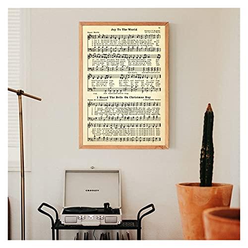 WQHLSH CANTI di Natale Spartiti Poster Poster e Stampe Decorazione da Parete, Canzoni Natalizie Vintage Piano Musica Musica Murale Art Canvas Pittura Decorazione 24x36INCHX1 Nessuna Cornice
