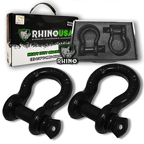 """Rhino USA D Ring Shackle (2 Pack) 41,850lb Break Strength – 3/4"""" Shackle with 7/8 Pin for use with Tow Strap, Winch, Off-Road Jeep Truck Vehicle Recovery, Best Offroad Towing Accessories (Gloss)"""