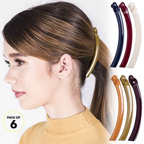 RC ROCHE ORNAMENT 6 Pcs Womens Thin Banana Ponytail Maker Holder Cute Secure Grip Hair No Slip Girls Ladies Beauty Fashion Accessory Clamp Clasp Clip, Medium Classic Multicolor