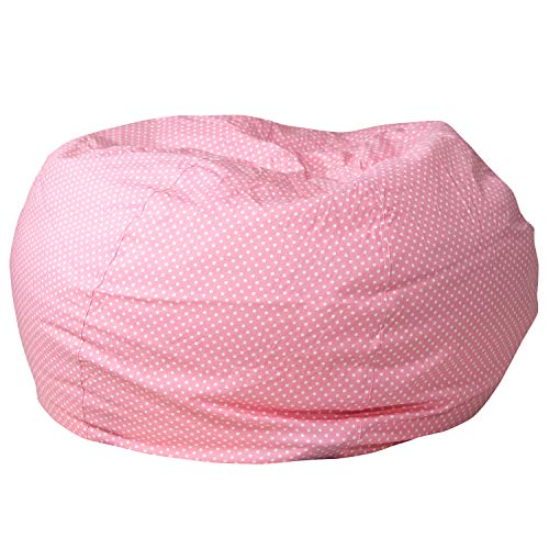 Flash Furniture Oversized Light Pink Dot Bean Bag Chair for Kids and Adults