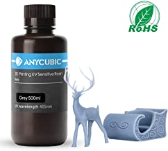 ANYCUBIC 3D Printer Resin, 405nm SLA UV-Curing Resin with High Precision and Quick Curing & Excellent Fluidity for LCD 3D Printing - 500ML/Grey