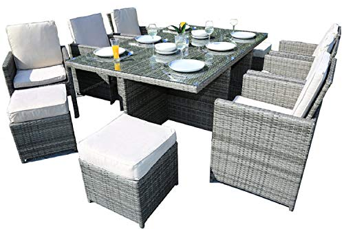 Envelor Alana 11-Piece Outdoor Wicker Conversation Set Patio Furniture Dining Set Outside Garden Wicker Rattan Dining Chair Lounge Set with Glass Top Table Ottomans and Luxury Cushions - Grey