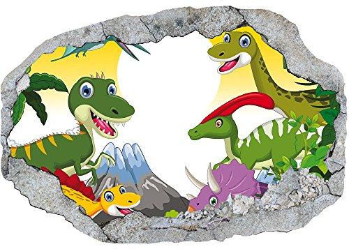 AM Wohnideen vliesfotobehang/poster/3D wanddillusie/gat in de muur *dino/dinos voor de kinderkamer*