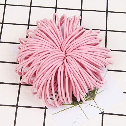 KK BETO 120Pcs 3mm Elastic Hair Ties - Rubber Hair Ties Hair Bands No Crease Ponytail Holder for Girls Women (Pink)