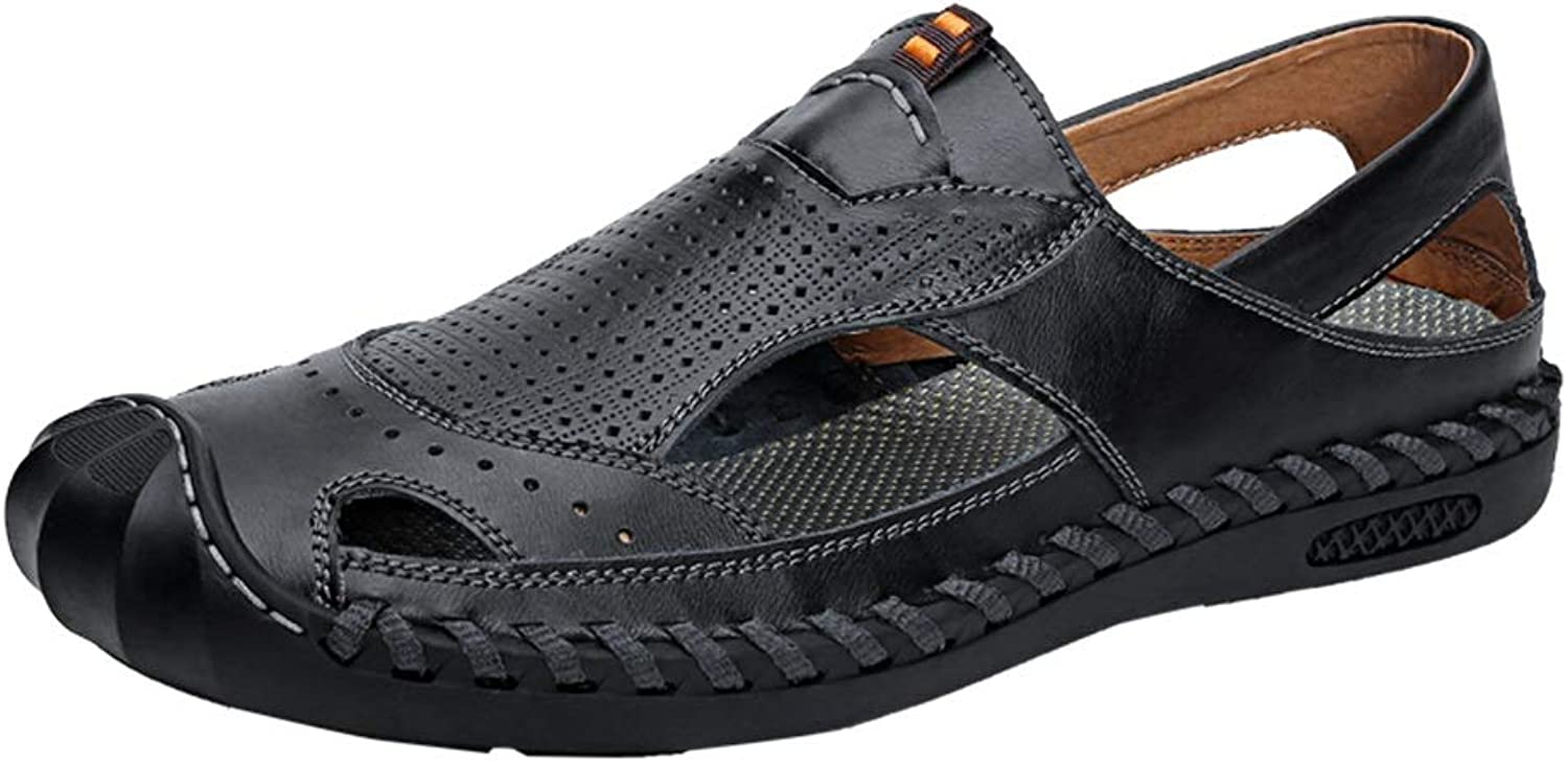 Easy Go Shopping Sandals For Men Water shoes Slip On PU Leather Anti-collision Toe Hollow Sandals Cricket shoes (color   Black, Size   9.5 UK)