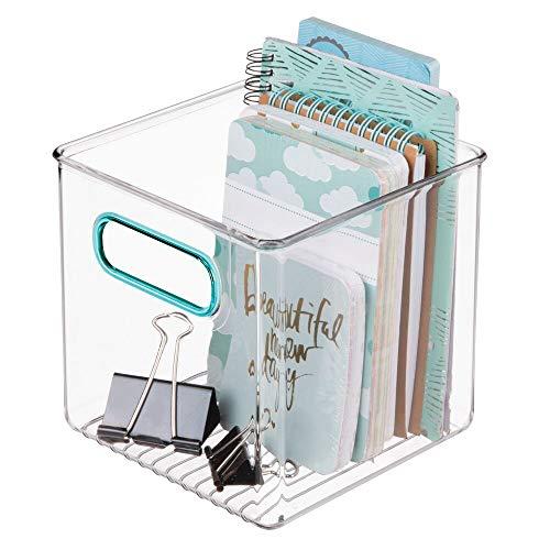 mDesign Caja de almacenaje con Asas integradas – Caja organizadora para Guardar Utensilios de Cocina y baño o Material de Oficina – Organizador de Escritorio en plástico – Transparente/Azul