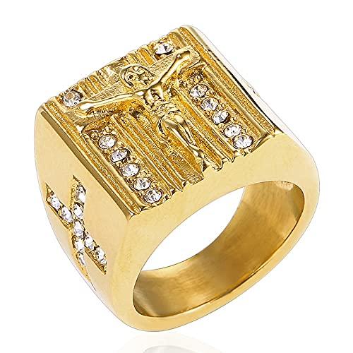 Hip Hop Us 6 To15 Tamaño Vintage Color Dorado Holy Cross Signet Ring Oración Christian Jesus White Cub Zirconia Anillo De Dedo De Boda14Gold