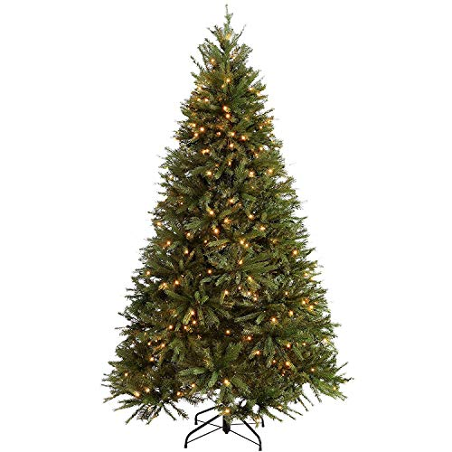 Red Co. 7 Feet Premium Artificial Spruce Hinged Christmas Tree with 510 Warm White LED Lights, 4058 Tips and Sturdy Metal Stand