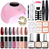 Gel Nail Polish Kit with 36W Nail Lamp - 7 Colors Gel Nail Polish Set Base Top Coat Nail Primmer, 36W LED Nail Dryer Lamp with Full DIY Gel Manicure Nail Tools by Modelones