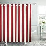 Emvency Duschvorhang, abstrakt, klassisch, rot & weiß gestreift, schöne Farbe, diagonal, wasserdicht, Polyester, 183 x 183 cm, Set mit Haken