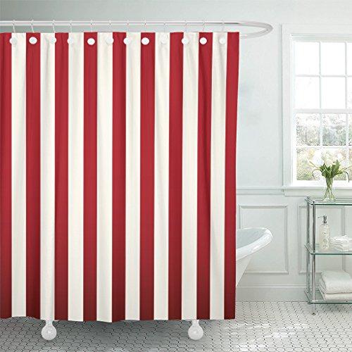 Emvency Duschvorhang, abstrakt, klassisch, rot und weiß gestreift, schöne Farbe, diagonal, wasserdicht, Polyester, 183 x 183 cm, Set mit Haken
