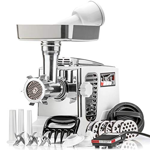 "STX Turboforce II""Platinum"" w/Foot Pedal Heavy Duty Electric Meat Grinder & Sausage Stuffer: 6 Grinding Plates, 3 S/S Blades, 3 Sausage Tubes, Kubbe, 2 Meat Claws, Burger-Slider Patty Maker - White"
