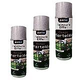 Lot de 3 bombes de peinture Effet martelé Gris - Aérosol 400ml – Intérieur et Extérieur de MadeInNature®