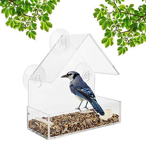 WISH Window Bird Feeder with Strong Suction Cups and Seed Tray, Outdoor Birdfeeders for Wild Birds, Finch, Cardinal, and Bluebird, Clear Acrylic Design to Enjoy Bird Watching for Kids Elderly Pets