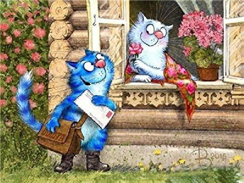 Digitaal olieverfschilderij om te knutselen, kat, brievenbus, decoratie voor thuis, cadeau-canvas, handgeschilderd, 40 x 50 cm