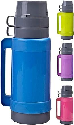 Preisvergleich für 1 Liter Thermoskanne mit 2 Tassen & Zuckerbehälter, mit Glaseinsatz, Grün, Blau, Pink oder Lila, Farbe:Blau