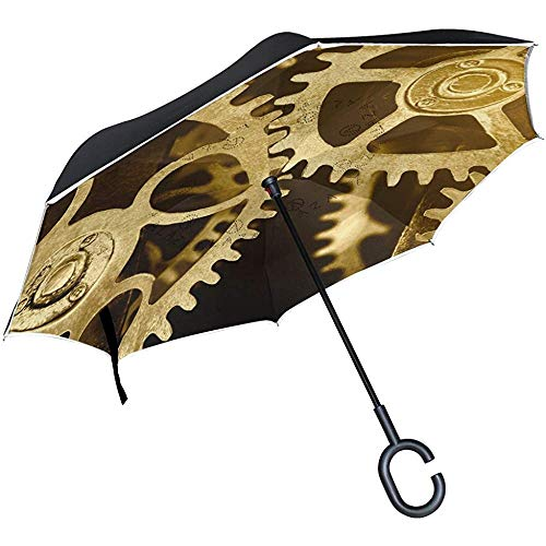 Dliuxf Reloj invertido Gear Paraguas Cars Reverse Windproof Rain Umbrella for Car...