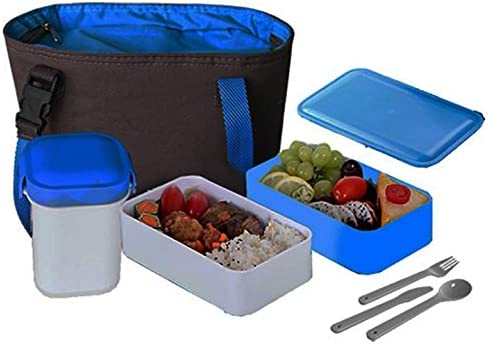 new arrival Insulated Hot & popular Cold 15-Pc Lunchbox 1.2-LTR W/Travel Cup,Sauce Containers,Reusable Utensils Leak Proof high quality Blue outlet online sale