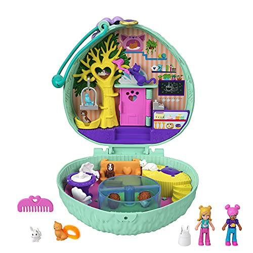 Polly Pocket Hedgehog Cafe Compact, Cafe & Pet Theme, Micro Polly Doll & Friend Doll, 2 Animal Figures (1 Cat with Tail Hair), Fun Features & Surprise Reveals, Great Gift for Ages 4 Years Old & Up