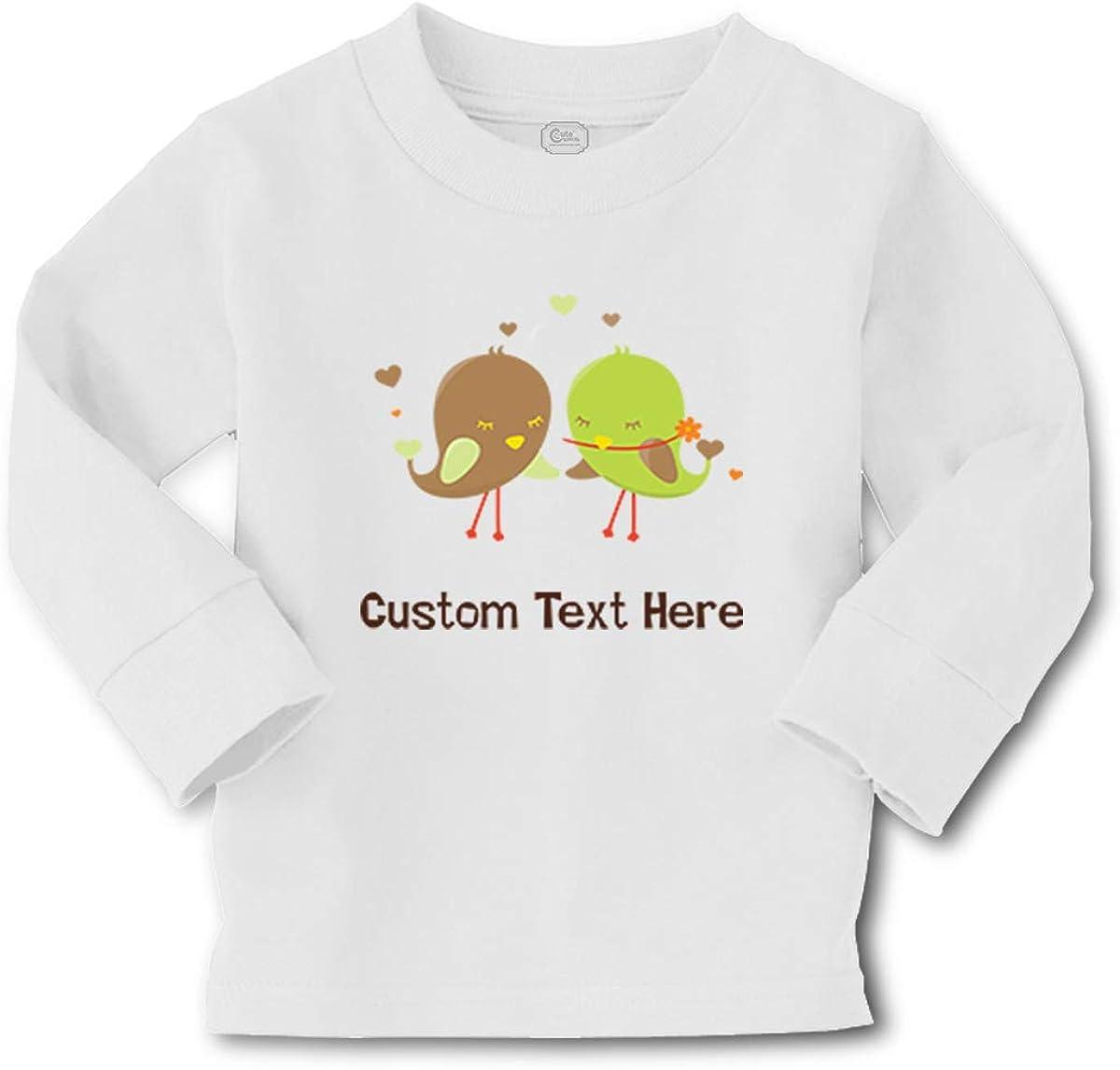 Kids Long Sleeve T Shirt Green Brown Birds Cotton Boy & Girl Clothes