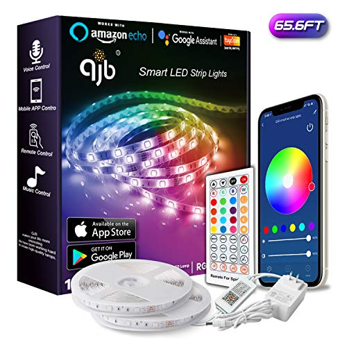 QJB 65.6ft Smart WiFi LED Strip Lights Compatible with Alexa, Google Home with 40 Key Remote Control 16 Million Colors, Music Sync Rope Lights Decoration for Bedroom,Kitchen, Bed, for iOS and Android