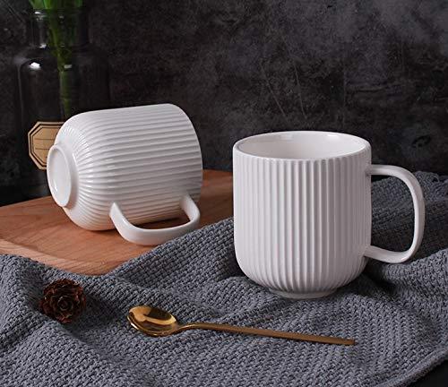 Porcelain White Mugs for Coffee, Tea, Cocoa, Set of 4, 12 oz, Lined Texture, Matte