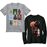 LEGO Boys Star Wars Long Short Sleeve Graphic Tee Shirt 2 Pack Set, Black/Grey, 8