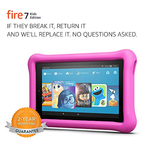 Fire 7 Kids Edition Tablet, 7' Display, 16 GB, Pink Kid-Proof Case - (Previous Generation - 7th)