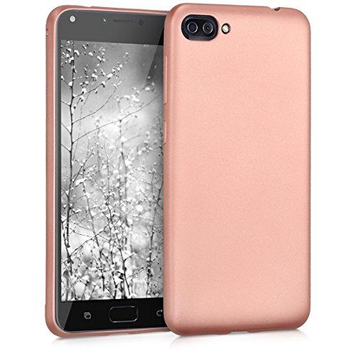 kwmobile Coque Compatible avec ASUS Zenfone 4 Max (ZC520KL) - Housse de téléphone en Silicone Or Rose métallique