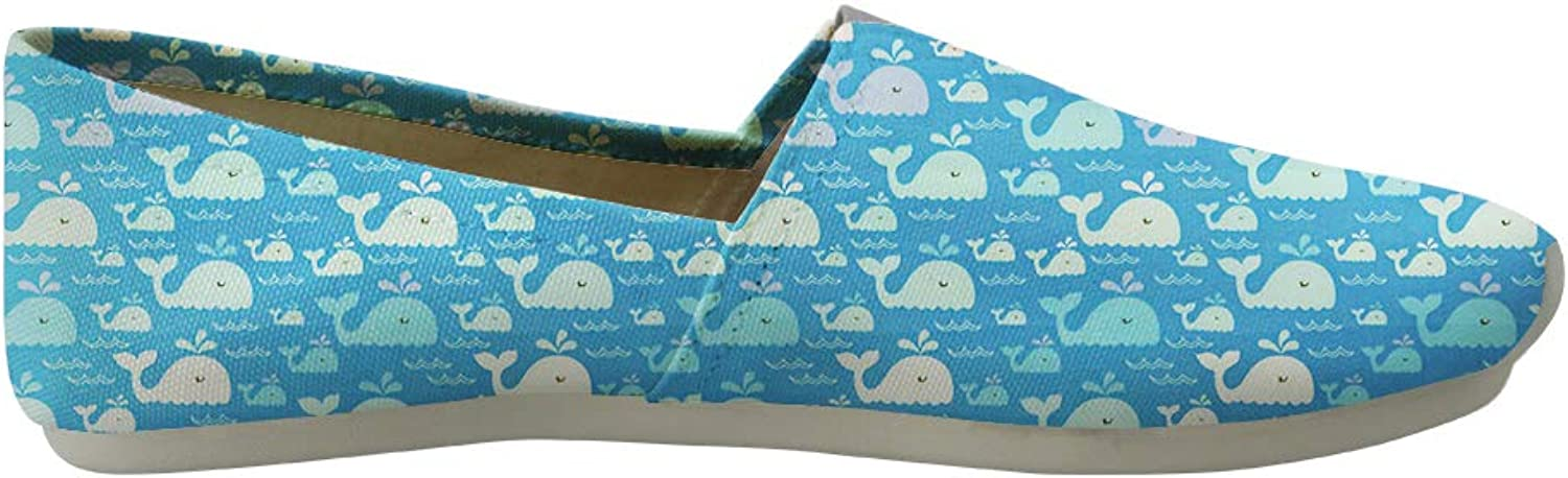 Classic Canvas Slip-On Lightweight Driving shoes Soft Penny Loafers Men Women Elegant Whales and Babies