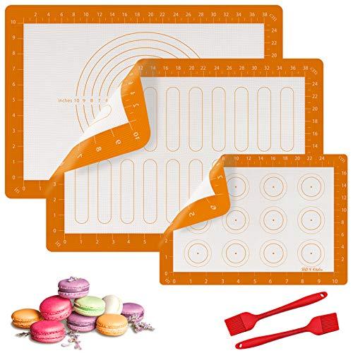SEQI Tappetini da Forno in Silicone,5 Pc Tappetini in Silicone(BPA Free), Resistente al Calore per Cottura Bakeware Mat, Antiscivol Riutilizzabile, per Pane, Pizza, Pasticceria, Torte e Biscotti