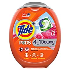 Only Tide PODS Plus Downy cleans and conditions in 1 step, helping protect clothes from stretching and fading in the wash. Tide PODS Plus Downy have the signature Downy April Fresh Scent for outstanding freshness 10X cleaning power. (Stain removal of...