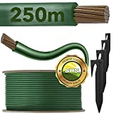 250m Begrenzungskabel + 750 Erdspieße für Mähroboter Rasenmäher Rasenroboter Zubehör SET Begrenzungsdraht für Suchkabel - kompatibel mit GARDENA/BOSCH/HUSQVARNA/WORX/HONDA/ROBOMOW/iMow / Ø2,7mm