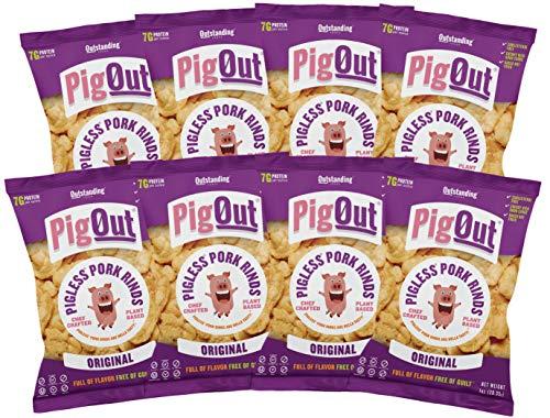 PigOut Pigless Pork Rinds, Original | Plant Based, High Protein, Low Calorie | Gluten Free, Kosher, Non-GMO | 1oz, 8 Pack