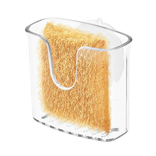 iDesign Sponge Holder, Small Plastic Kitchen Sink Tidy with Suction Cup, Sink Organiser for Rectangular Dish Sponge or Pot Scourer, Clear
