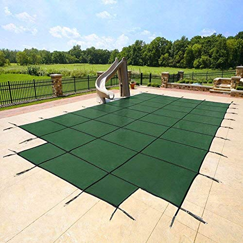 YARD GUARD 18'x36' Green Mesh - CES Rectangle Inground Safety Pool Cover - 15 Year Warranty - 18 ft x 36 ft in Ground Winter Cover with 4'x8' Center End Steps