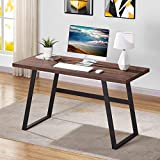 BON AUGURE Industrial Computer Desk, Rustic Wood Writing Desk, Office Desk Table for Home (55 Inch, Rustic Oak)