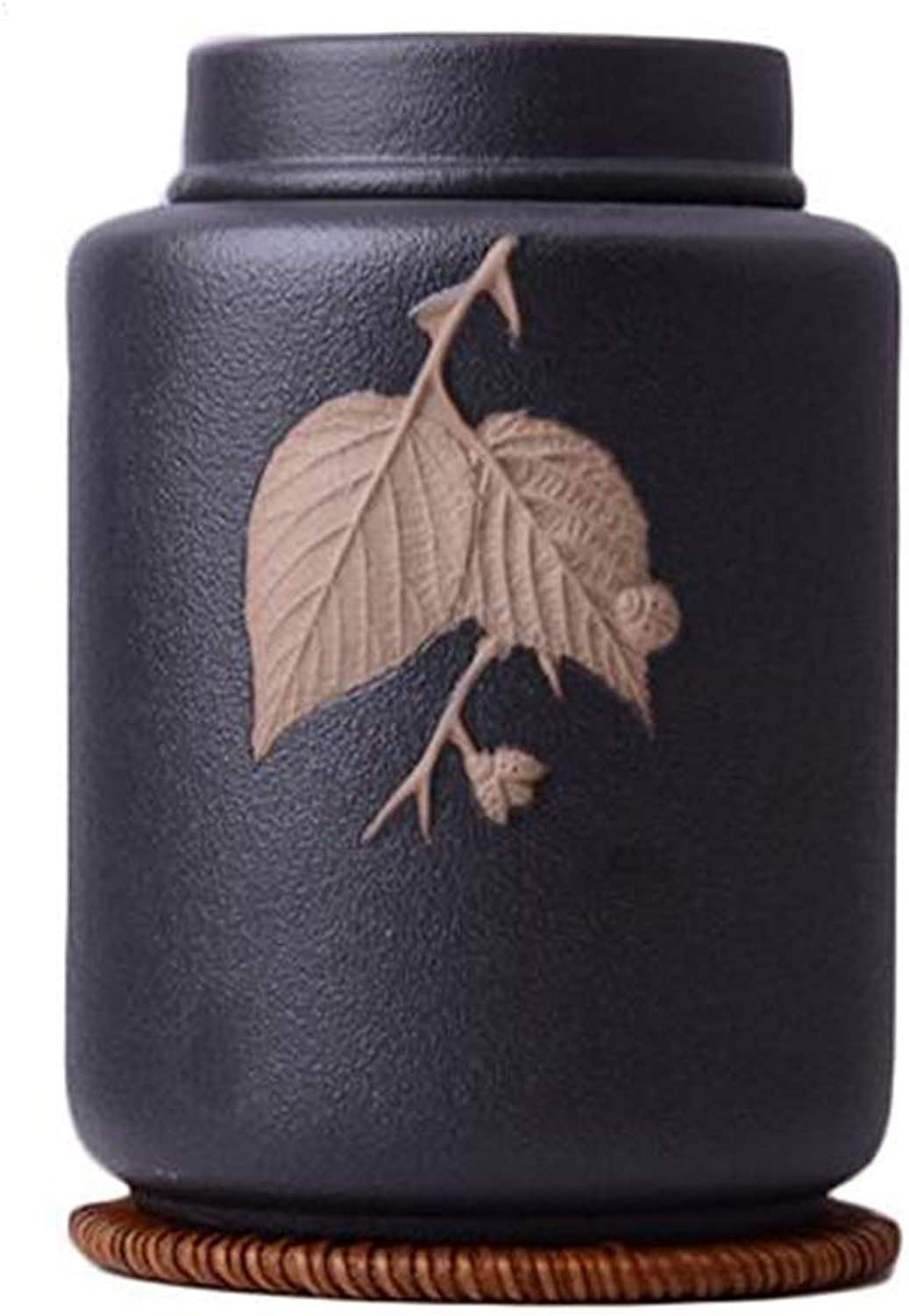 HJM Pet Weng  Sealed MoistureProof Handmade Pet Coffin Frosted Embossed Leaf Ceramic Bottle Commemorating The Death of Dogs, Cats and Other Small Animals Suitable for Storing All Pets' Ashes