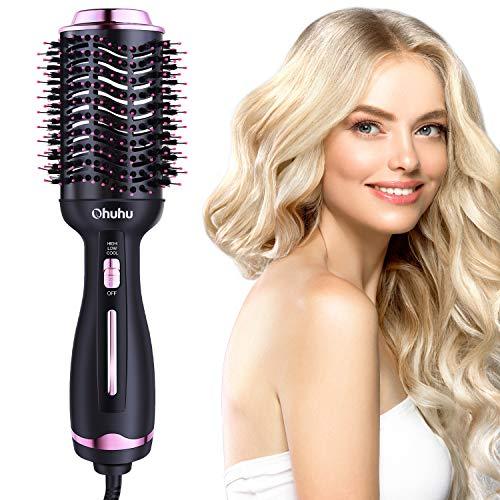 Haartrockner Warmluftbürste, Ohuhu 4 in 1 Haartrockner Bürste Heißluftbürste Volumenbürste Stylingbürste Heißluftkamm und Styler, One-Step Warmluft und Volumenbürste für alle Haartypen