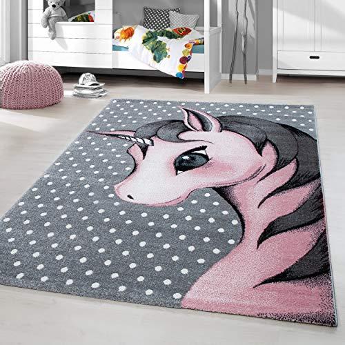 HomebyHome Alfombra Infantil Diseño de Unicornio Habitación Infantil para bebé Gris Rosa rectángulo Redonda, tamaño:160x230 cm