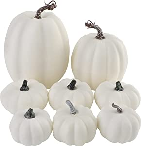 Artmag 8 Pcs Assorted Sizes Harvest White Artificial Pumpkins for Fall Halloween Thanksgiving Decorating Embellishing and Displaying
